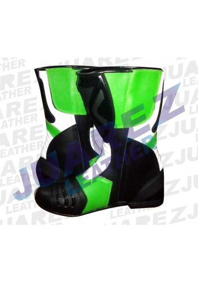 Green Motorcycle Street Racing Motorbike Leathers Boots