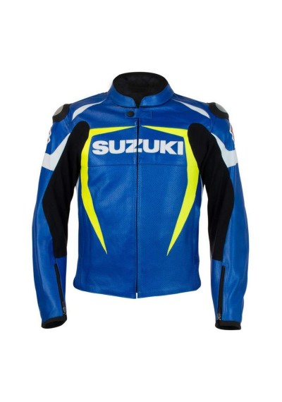 Suzuki Motorcycle Racing Biker Leather Jacket Motorbike
