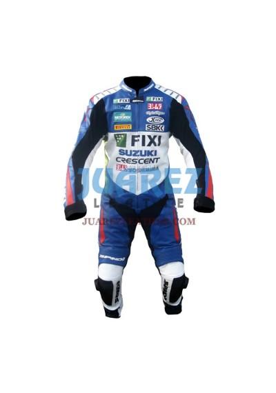 John Hopkins Suzuki Race 2012 Spidi Leather Suit