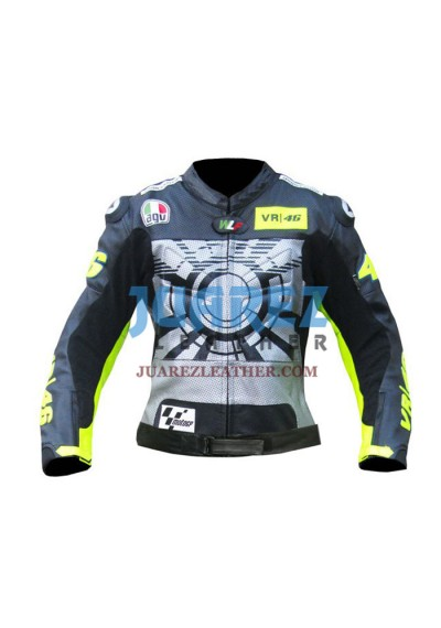 Motorcycle Racing Valentino Rossi Winter Test VR 46 Leather Jacket