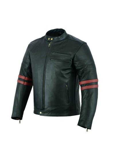 Street Racing Style Real Motorbike Black Biker Leather Jacket Motorcycle